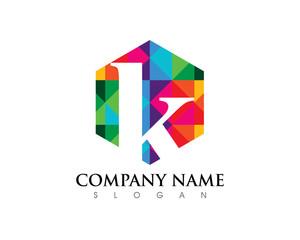 K Letter Hexagon Logo