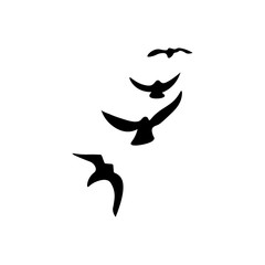 Bird crow icon. Black icon on white background.