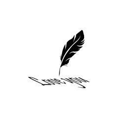 Feather pen icon. Black icon on white background.