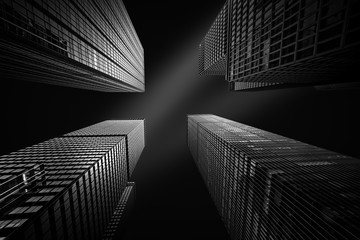 Wall Mural - Architectural fine-art black and white photograph with four New York skyscrapers converging towards the sky