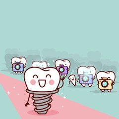 cartoon implant tooth with paparazzi