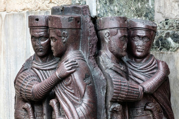The Tetrarchs is 4th century porphyry sculpture representing Diocletian, Maximian, Valerian and Constance. Collectively they were the tetrarchs, appointed by Diocletian to help rule the Roman Empire.