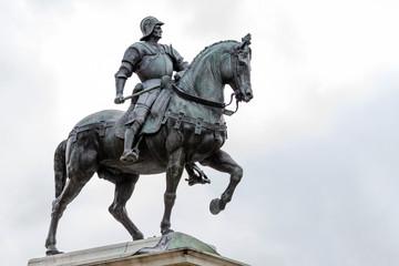 15th century statue of Bartolomeo Colleoni the famous condottiere or commander of mercenaries in Venice, Italy