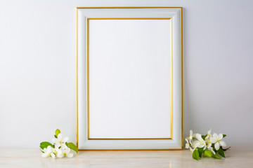 White frame mockup with apple blossom