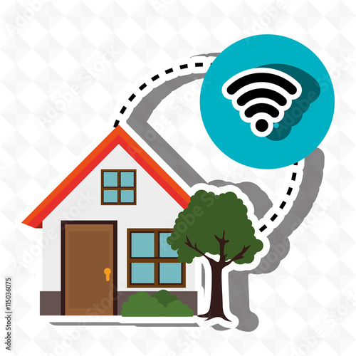 Smart home with wifi connection isolated icon design vector illustration graphic imagens e Home wifi architecture