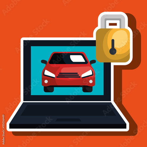 Computer Laptop With Car Isolated Icon Design Vector Illustration Graphic Stock Image And
