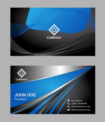 Abstract editable blue black business card