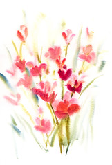 Colorful abstract flowers, watercolor painting