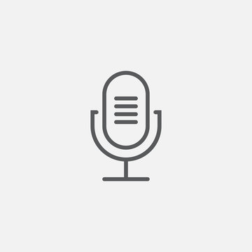 old microphone line icon, outline vector logo illustration, linear pictogram isolated on gray