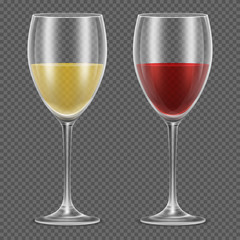 Realistic vector wineglasses with red and white wine on checkered background. Wine in glass vector illustration