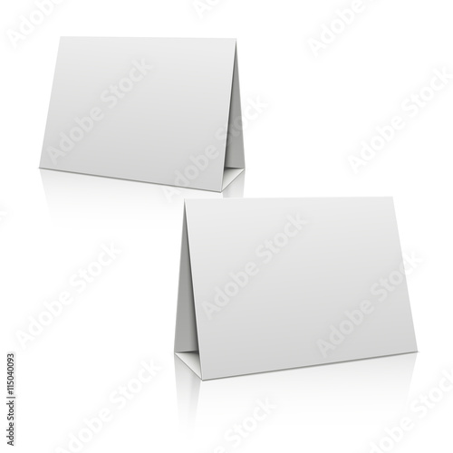Blank white paper stand table holder card. 3D vector design template ...