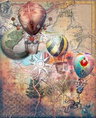 Canvas Prints Imagination Mongolfiere steampunk su sfondo retro'