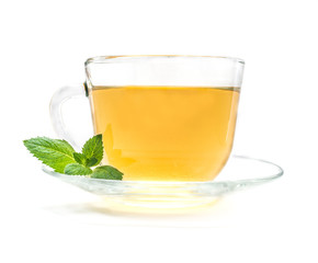 Cup of green chamomile tea with mint