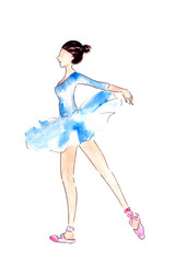 watercolor lightness ballerina dancing in blue dress on white background