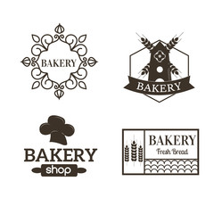 Retro bakery logotypes set. Vector design elements.Vintage badges and labels set