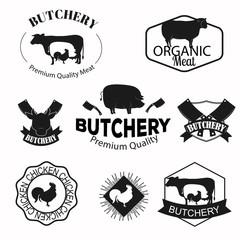 Butchery, meat shop logos, labels, badges and design elements set.