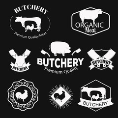 Butchery, meat shop logos, labels, badges and design elements set.