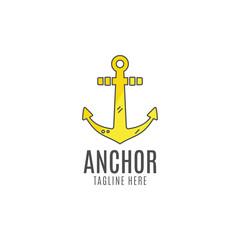 Anchor vector logo icon. Sea, sailor symbol. Anchor logo. Anchor icon. Anchor symbol, anchor tattoo. Flat style logo template.  Anchor label, decor logo, premium quality logo concept. Summer design