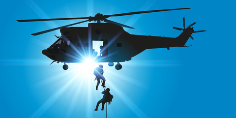 Hélicoptère - descente en rappel