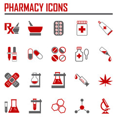 Vector pharmacy icons - in red color