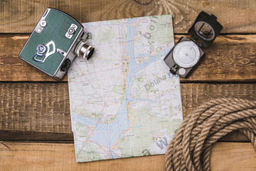 vacation planning with a map