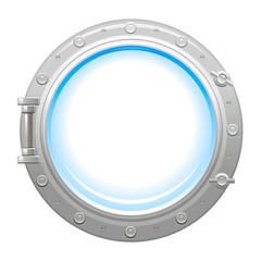 Porthole icon with silver metalic porthole and white empty glass