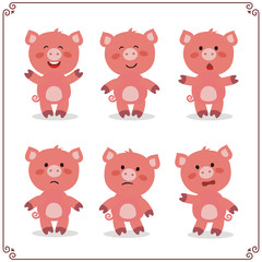 Set Vector Illustrations isolated emotion character cartoon pig. Stickers emoticons pig with different emotions.
