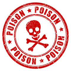Poison danger vector rubber stamp