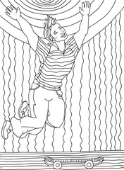 Coloring page for adults. A young guy on a skateboard. Black and white drawing of a hand, vector. Zenart. Sun, Sky, Skate. Outline