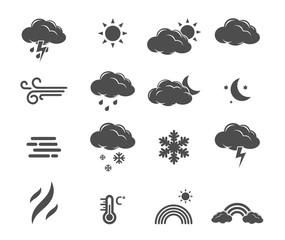 Weather forecast, meteorology icon set vector