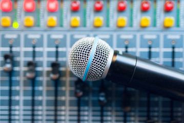 Microphone on sound mixer