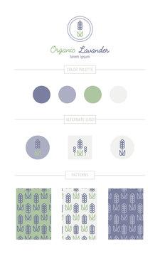 Lavender flower branding set.