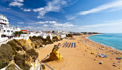 View of the old town of Albufeira and endless sandy beaches, Algarve, Portugal