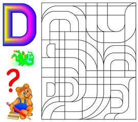 Educational page with letter D for study English. Logic puzzle. Find and paint 5 letters D. Vector image.