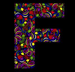 Illustration of  fantasy Letter F on black background. Vector image.