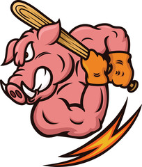 Strong Wild Boar Baseball Player with Baseball Bat Cartoon Illustration
