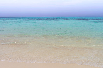 Calm beach and blue sky with wave blue sea  at koh rok, krabi, t