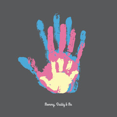 Watercolor handprint of family. Mom, dad and me vector illustration. Handprint of man, woman and child.