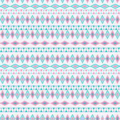 Tribal texture geometric seamless pattern in mint colors. Vector illustration. Geometric pattern design for web, mobile, print and textile.