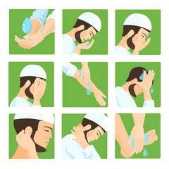 Muslim ablution, purification guide. Step by step position using water.