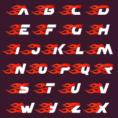 Fast fire alphabet letters logo on dark.