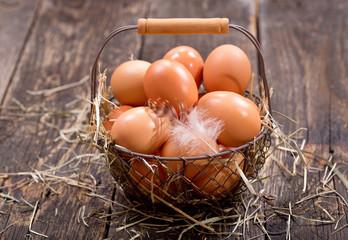 fresh brown eggs in a basket