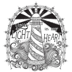 Lighthouse with abstract waves and typographic elements. Concept design for t-shirt, print, poster, card. Vintage hand drawn vector illustration