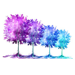 Watercolor pattern - a group of autumn multicolored trees. Blue, purple, pink colors on a white background isolated.
