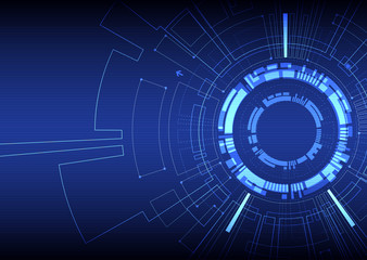Abstract  blue colored technological background with various tec
