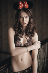 Beautiful brunette model in expensive lace lingerie