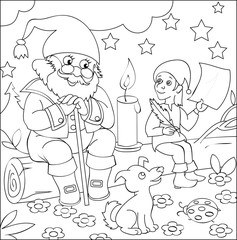 Page with black and white illustration of dwarfs for coloring. Developing children skills for drawing. Vector image.