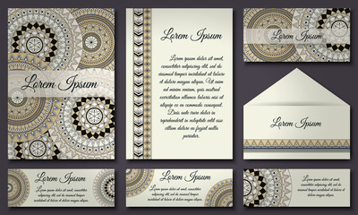 invitations and banners template set. Floral mandala pattern  ornaments. Asian, Arabic, Indian, ottoman motifs.