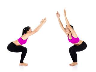 Yoga woman - pretty asian female in active wear doing yoga