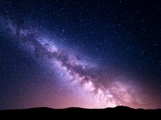 Wall Mural - Night landscape with Milky Way. Starry sky, Universe